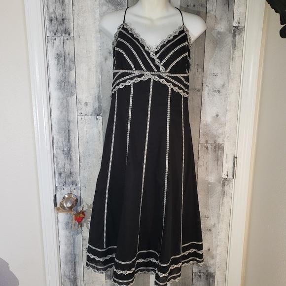 White House Black Market Dresses & Skirts - Whbm black halter cotton dress size 8